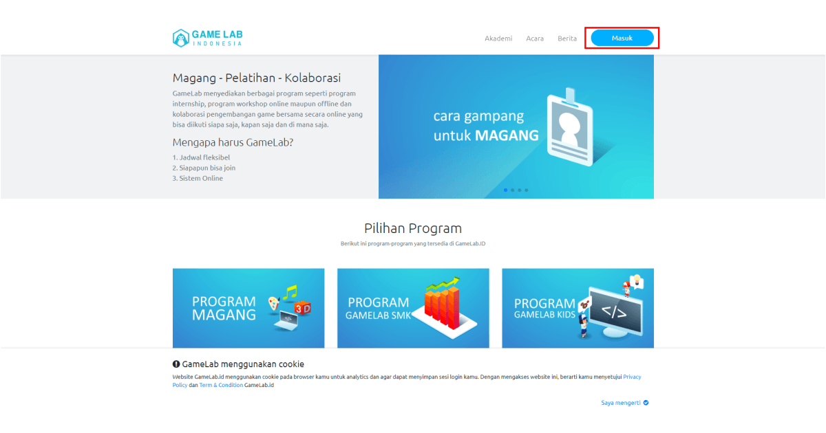Akses halaman website GameLab.ID