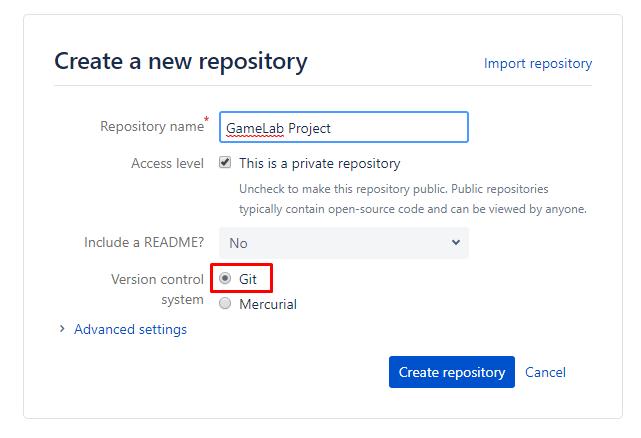 Form Pembuatan Repository Baru